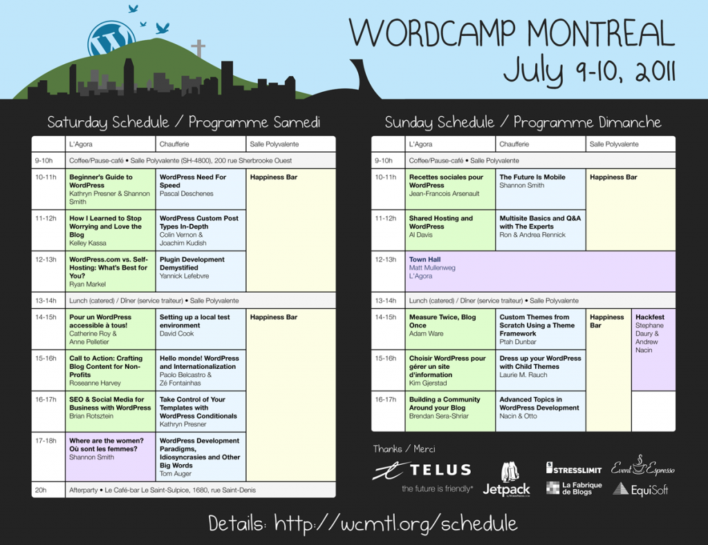 Two-day hourly schedule for WCMTL