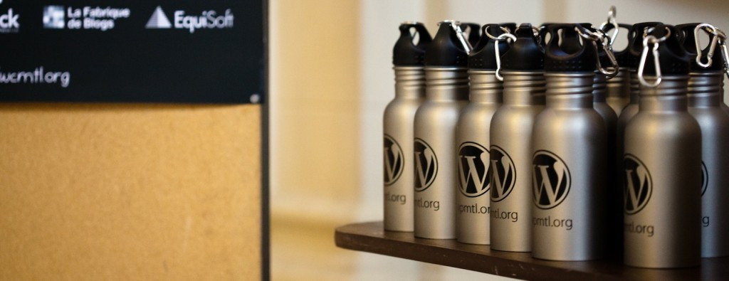 WordCamp Montreal bouteilles d'eau