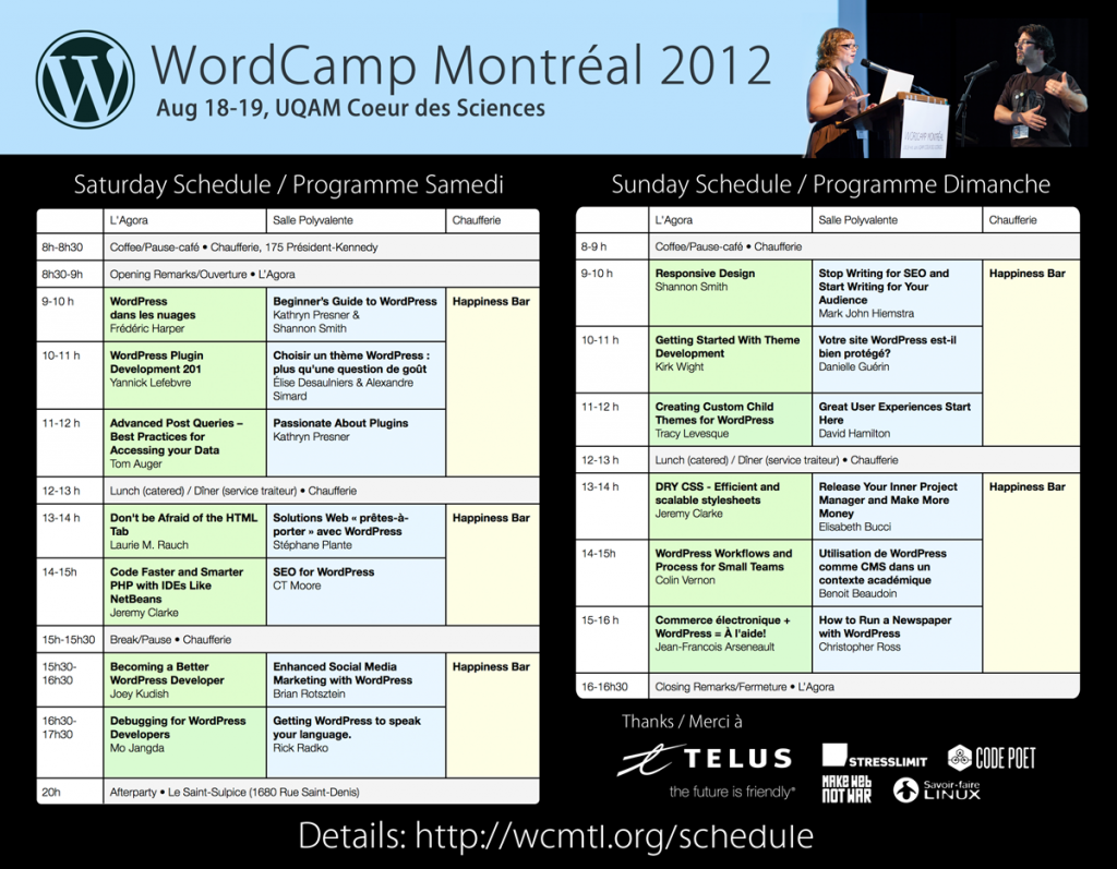full schedule for wcmtl 2012