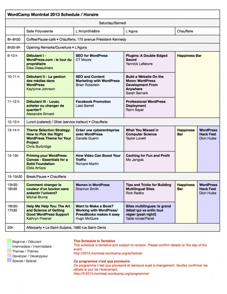 Programme provisoire de samedi: WordCamp Montréal 2013. Mis à jour le 18 juin.