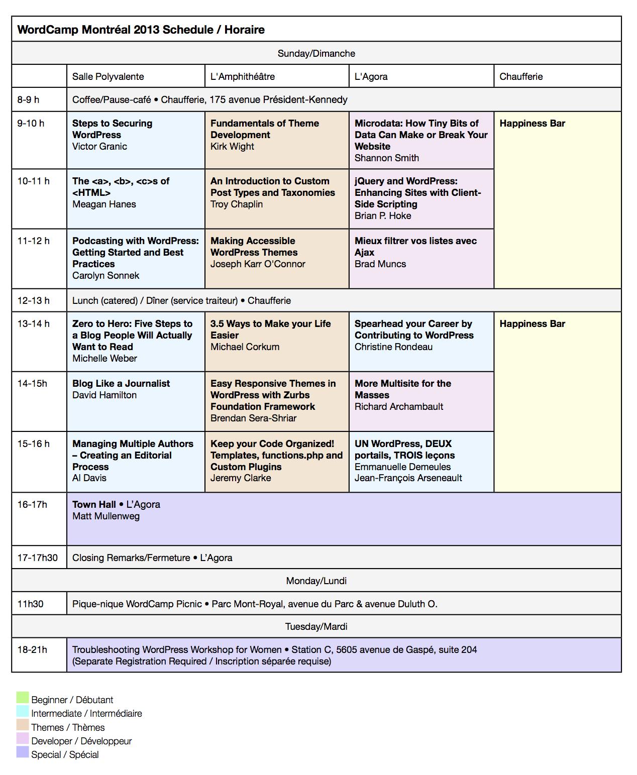 Programme de dimanche, lundi et mardi : WordCamp Montréal 2013. Mis à jour le 28 juin.