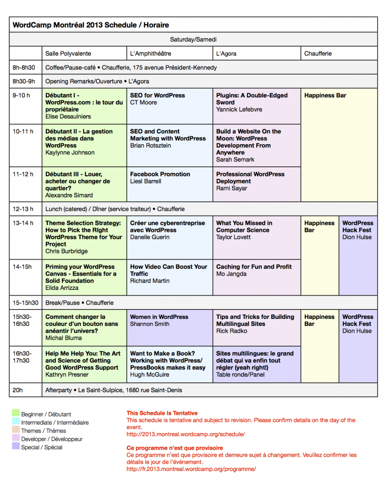 Tentative Schedule for Saturday: WordCamp Montreal 2013. Updated June 18.