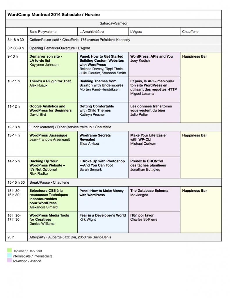 Programme de samedi: WordCamp Montréal 2014. Mis à jour le 16 août.