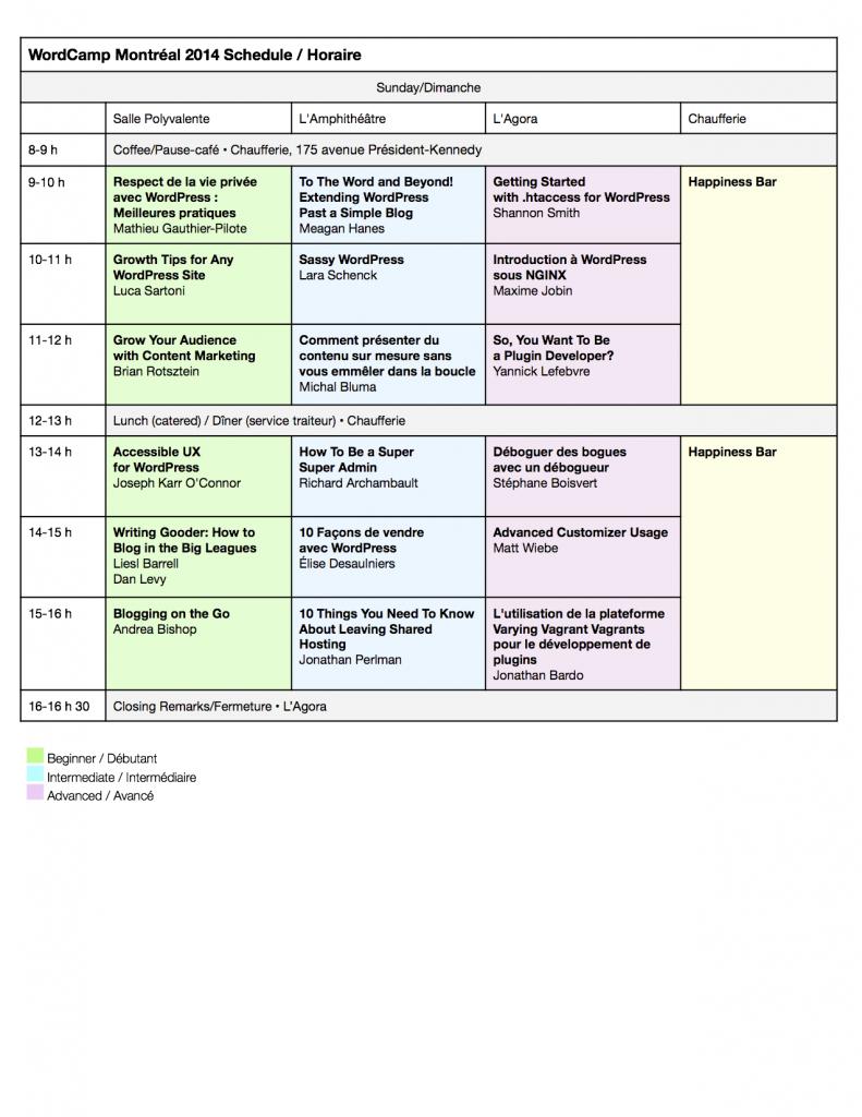 Programme de dimanche: WordCamp Montréal 2014. Mis à jour le 16 août.