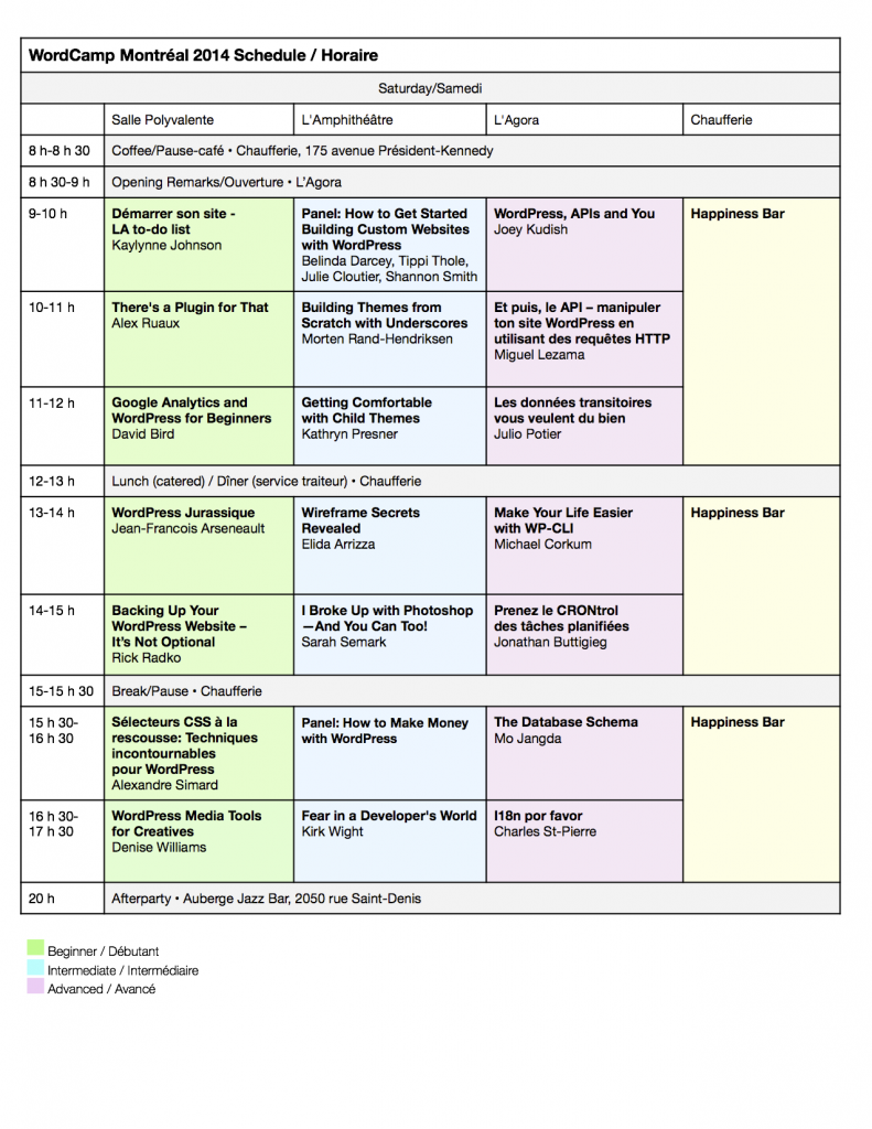 Schedule for Saturday: WordCamp Montreal 2014. Updated August 16.