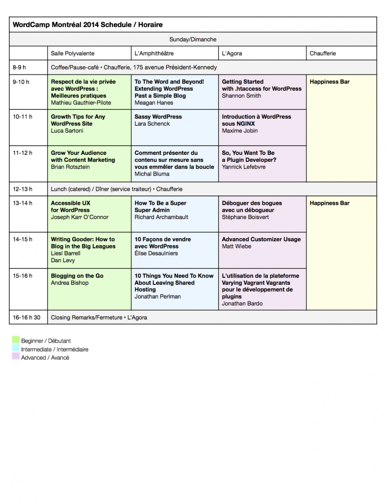 Schedule for Sunday: WordCamp Montreal 2014. Updated August 16.